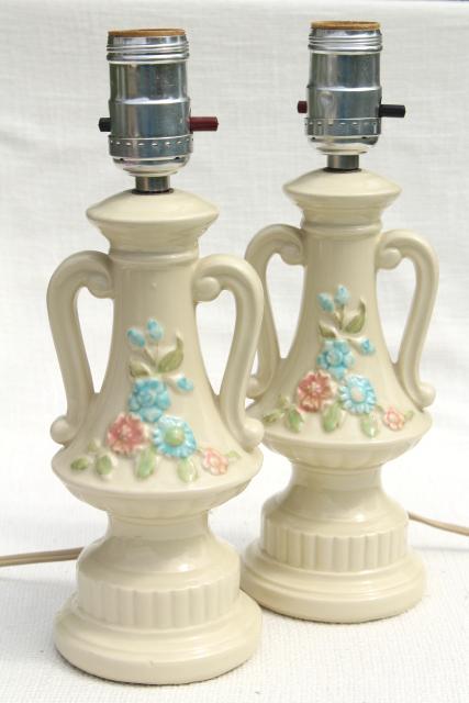 1950s Vintage Boudoir Lamps, Ceramic Vanity Table Lamp Pair, Pottery W/  Retro Flowers