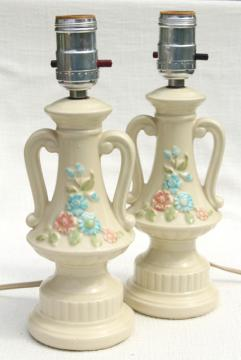 1950s vintage boudoir lamps, ceramic vanity table lamp pair, pottery w/ retro flowers