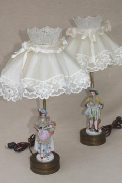 1950s vintage boudoir lamps w/ ruffled shades, french country couple china figurine lamp bases