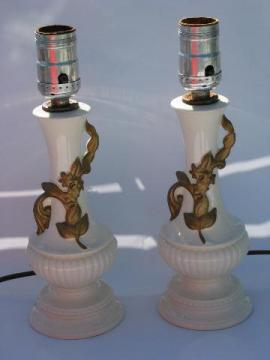 1950s vintage boudoir vanity lamps, ivory pottery w/ gold