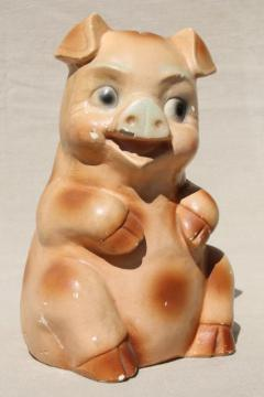 1950s vintage chalkware piggy bank, farm country county fair carnival prize pig