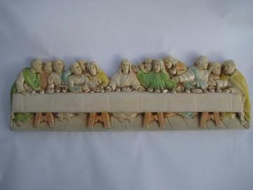 1950s vintage chalkware wall hanging plaque of The Last Supper