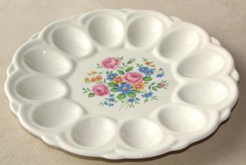1950s vintage china egg plate, divided tray for serving deviled eggs
