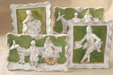 1950s vintage china frames w/ dimensional figures, hand painted Japan french art pieces