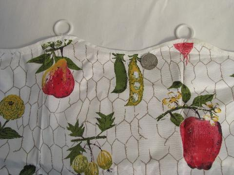1950s vintage chintz cotton cafe curtains, kitchen fruit print, never used