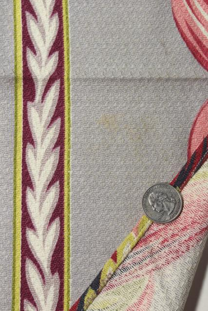 1950s vintage cotton barkcloth fabric curtains, pink grey leaves, very retro!