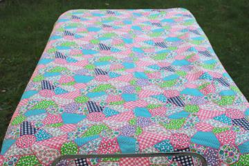 1950s vintage cotton cheater patchwork quilt print fabric pink green aqua
