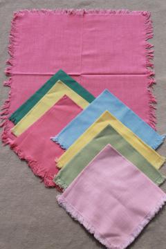 1950s vintage cotton cloth napkin sets, luncheon / tea party napkins in pastel colors