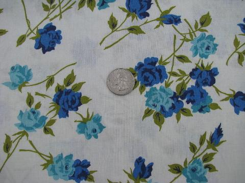 1950s vintage cotton fabric, blue roses