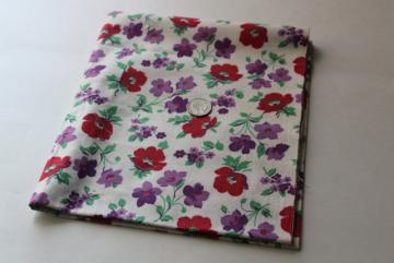 1950s vintage cotton fabric, flowered print lilacs purple & red flowers