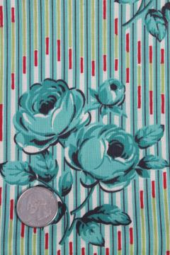 1950s vintage cotton fabric, retro floral turquoise roses flowered print