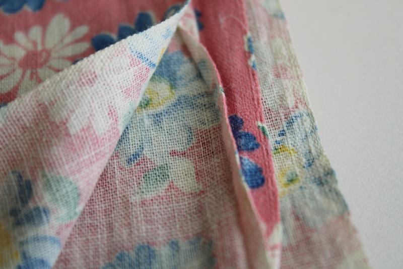 1950s vintage cotton feed sack fabric, blue daisies on pink floral print