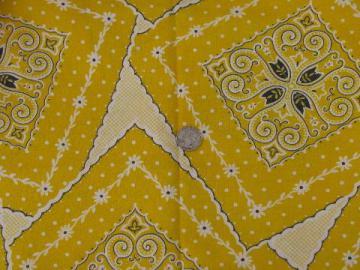 1950s vintage cotton feedsack fabric, retro bandana print in yellow