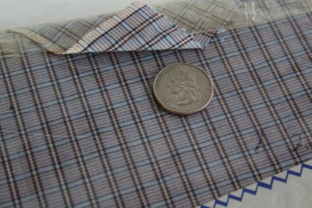 1950s vintage cotton shirting, woven checked plaid 4 yards 35-36 wide
