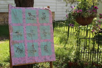 1950s vintage crib quilt, hand stitched embroidery baby animals pink & green blocks
