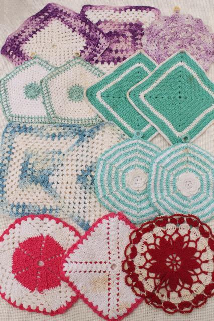 1950s Vintage Crochet Potholders Lot Of Kitchen Pot Holders Hot Mats