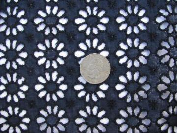 1950s vintage daisy lace eyelet cotton fabric, broderie anglaise in navy blue