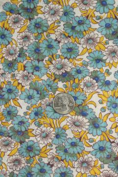 1950s vintage daisy print quilting or dress weight cotton, blue yellow daisies