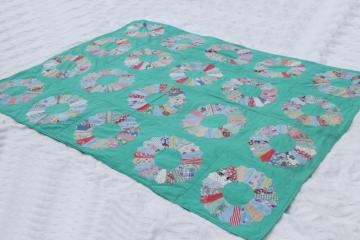 1950s vintage dresden plate quilt comforter w/ old cotton print fabrics on jade green