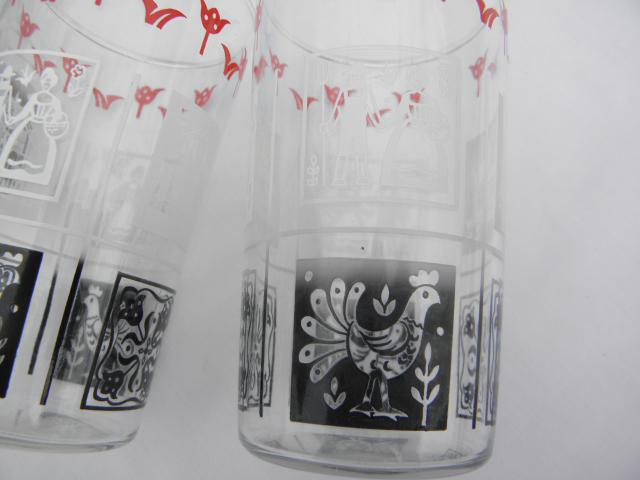 1950s vintage drinking glasses, country rooster red black white chanticleer