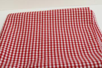 1950s vintage fabric, cotton rayon red & white checked gingham woven checks
