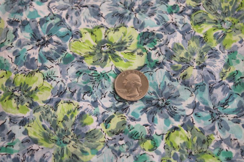 1950s vintage fabric, fine light cotton lawn w/ floral lime, smoke grey, teal blue