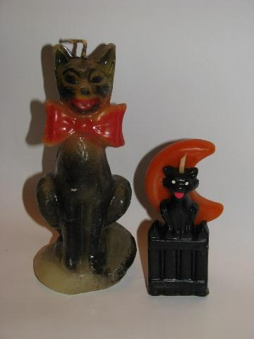 1950's vintage figural candles lot, black cats for Halloween
