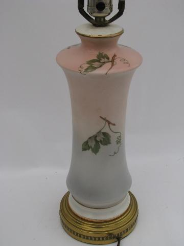 1950s Vintage Floral China Lamp Pink And Blue Shading