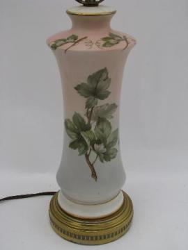1950s vintage floral china lamp, pink and blue shading, American pottery