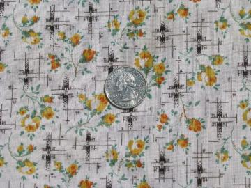 1950s vintage flowered cotton print fabric, yellow roses