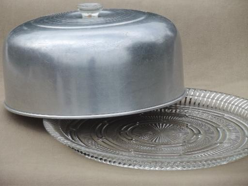 & 1950s vintage glass cake plate w/ large aluminum cake cover dome
