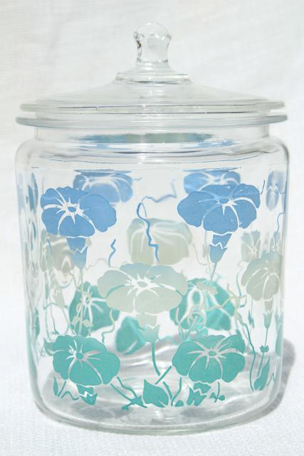 1950s vintage glass canister jars w/ heavenly blue morning glories, morning glory flowers