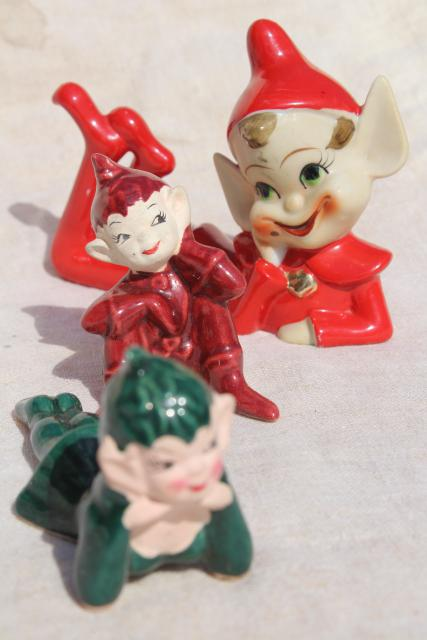 1950s vintage hand painted ceramic pixies, elf on the shelf figurines