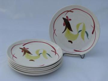 1950s vintage hand-painted rooster pottery plates, Stetson or Blue Ridge?