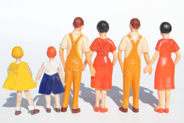 1950s vintage hard plastic dolls, doll house miniature people, farm family & children