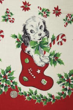 1950s vintage holiday novelty border print cotton fabric, Christmas stocking with puppy