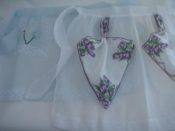1950s vintage hostess aprons lot, sheer cotton, flowered hanky apron