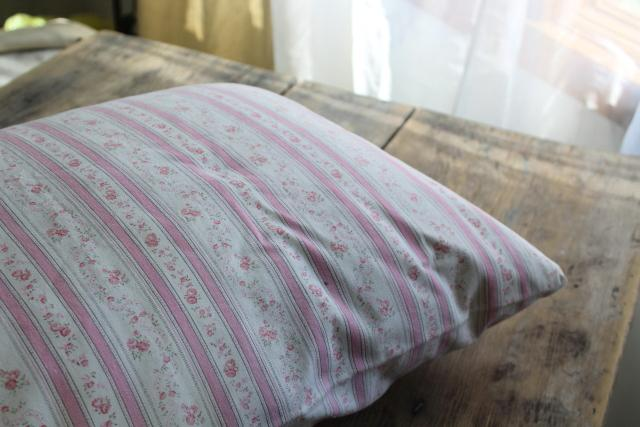 1950s vintage kapok filled bed pillow, pink & white print floral striped cotton ticking