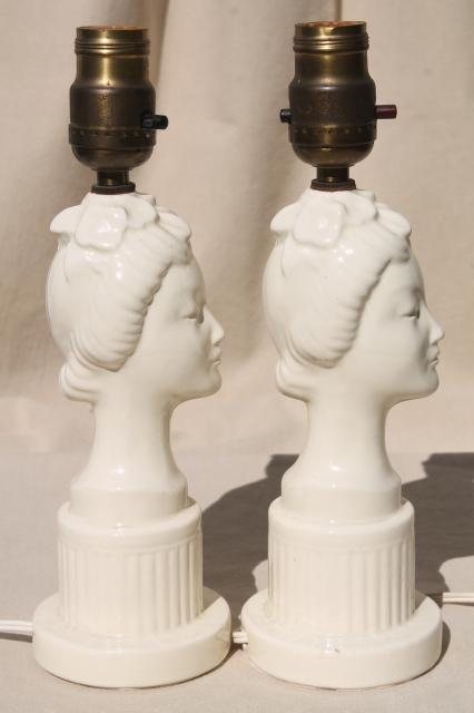 1950s vintage lady head lamps, pure white china bust beautiful geisha girls