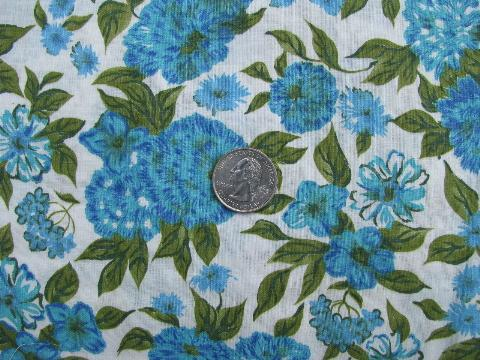 deb1f8ee5b 1950s vintage large blue floral print cotton fabric
