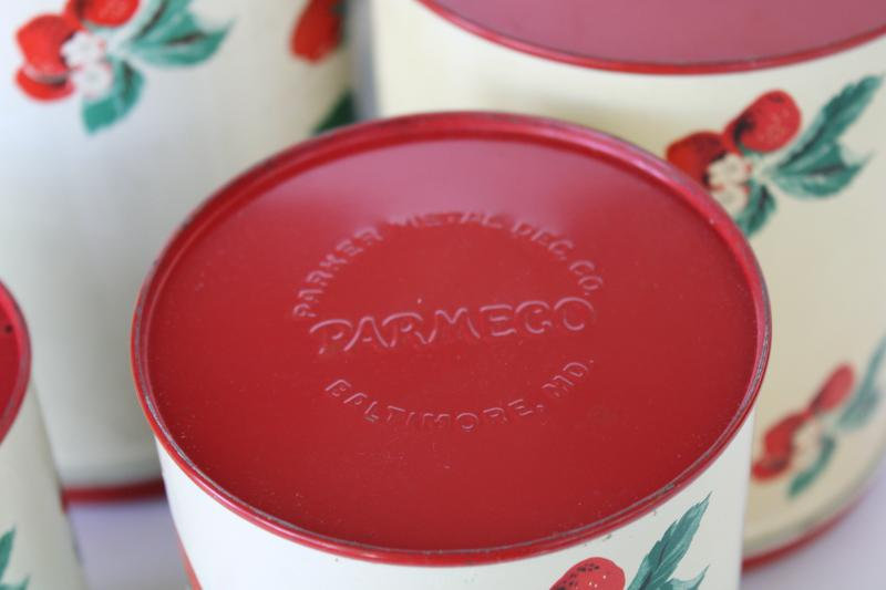 1950s vintage metal kitchen canisters, nesting tins set w/ strawberry print
