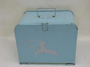 1950's vintage metal lunchbox w/ trays, picnic sandwich carrier box