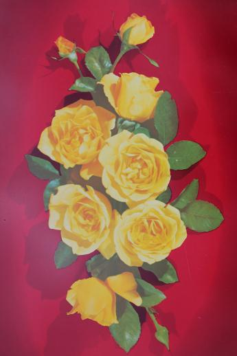 1950s Vintage Metal Serving Trays Red Amp Yellow Roses