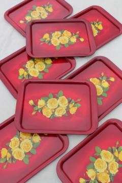 1950s vintage metal serving trays, red & yellow roses print trays set of 8