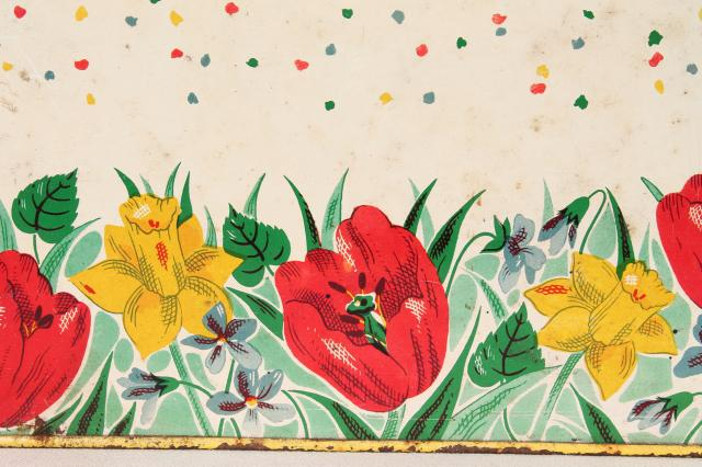 1950s vintage metal tin breadbox w/ cottage flowers, yellow daffodils & red tulips bread box