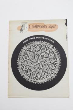 1950s vintage needlework leaflet, knitted hand knit lace doilies patterns