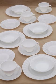 1950s vintage opal milk glass toughened Corning dinnerware set, Princess swirl pattern dishes