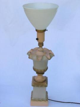 1950s vintage ornate metal lamp, milk glass reflector torchiere shade