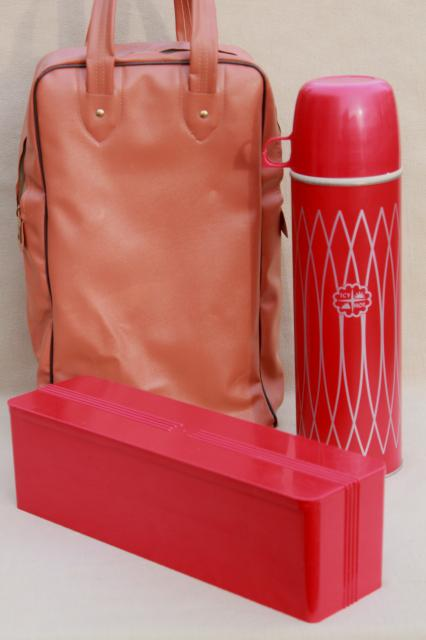 1950s vintage picnic set, Thermos bottle & red plastic fridge box for sandwiches