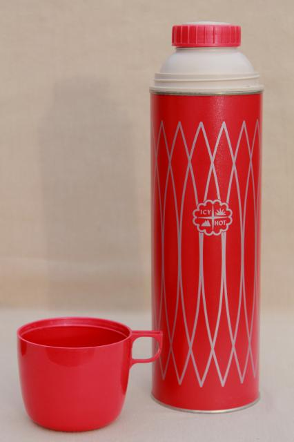 1950s Vintage Picnic Set Thermos Bottle Amp Red Plastic